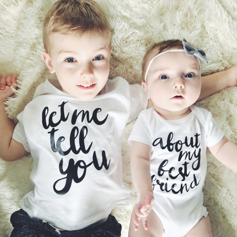 Newborn Children Baby Boy Girl Cotton T-shirt Romper Body Outfit Clothes Let Me Tell You About My Best Friend Matching Clothes image