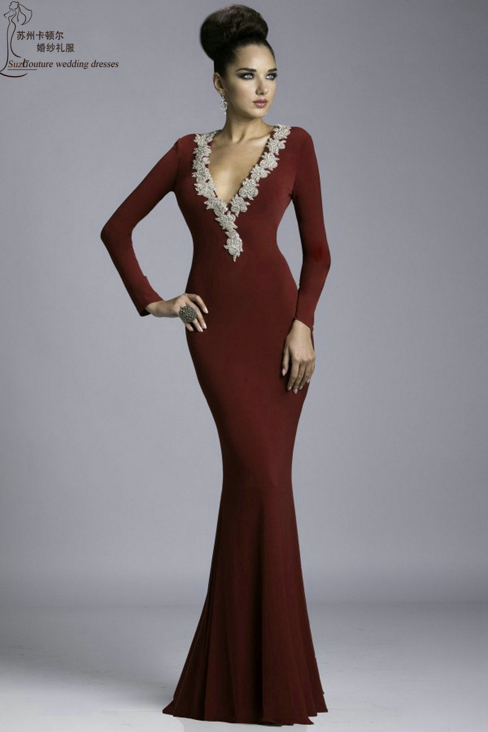 Long mermaid prom dresses PM5178 elegant burgundy long sleeve prom ...