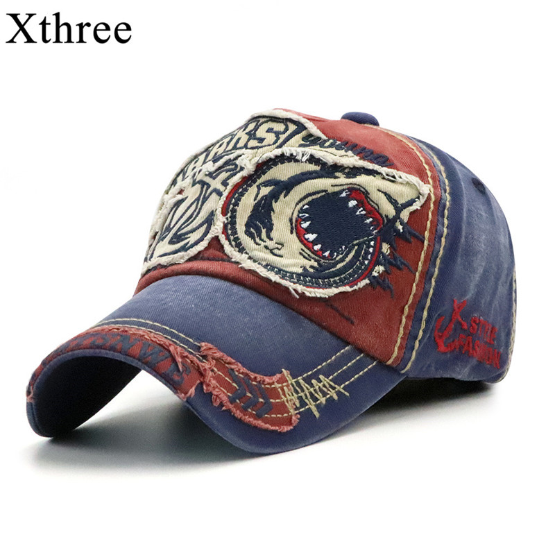 Xthree New Washed   Baseball     Cap   Fitted   Cap   Snapback Hat For Men Bone Women Gorras Casual Casquette Embroidery Shark