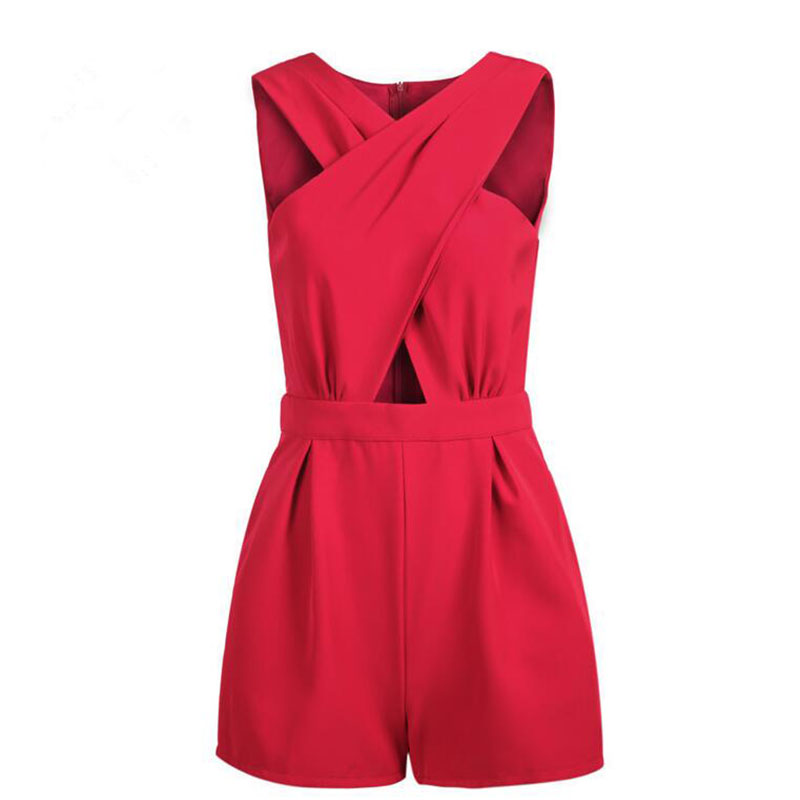 Summer Women Playsuit Sexy Cross Front Bandage Sleeveless Bodysuit For Women Fashion Casual Shorts Women Party Jumpsuit