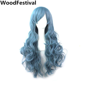 WoodFestival 18 Colors Synthetic Wig Female Smoke Blue Pink Long Wavy Hair Wigs With Bangs Women Heat Resistant Fiber Cosplay - discount item  52% OFF Synthetic Hair