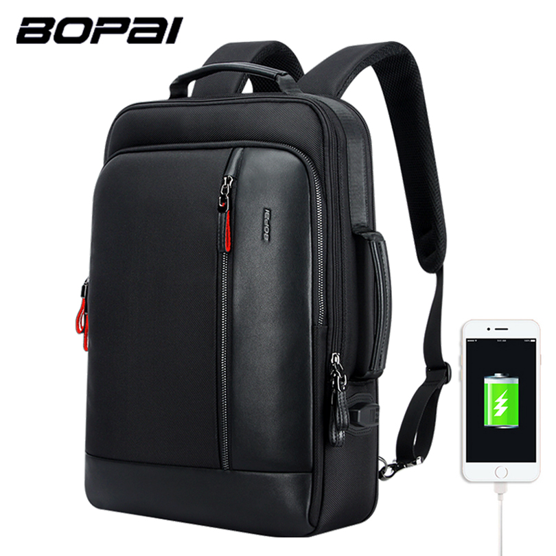 BOPAI Multifunction USB Charging Men 15.6 Inch Laptop Backpack Anti theft Enlarge Men Travel Backpack For Teenager Drop Shipping bopai brand backpack usb charging backpack laptop shoulders anti theft usb backpack 15 inch laptop backpack men waterproof