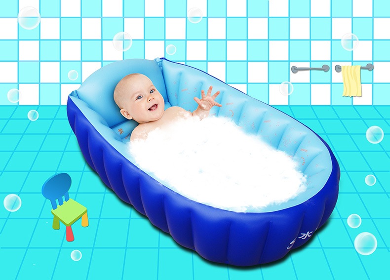2017 Inflatable Baby Bathtub Cartoon Inflating Bath Tub for Toddlers Kids Portable Swimming Pool Newborn Infant Bath Seat Chair