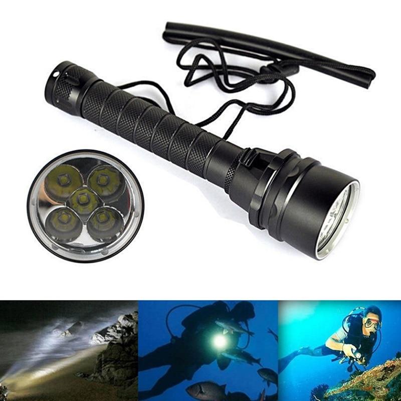 Underwater 5x T6 LED Diving Flashlight Torch Lamp Waterproof 100M 5000 LumensSC