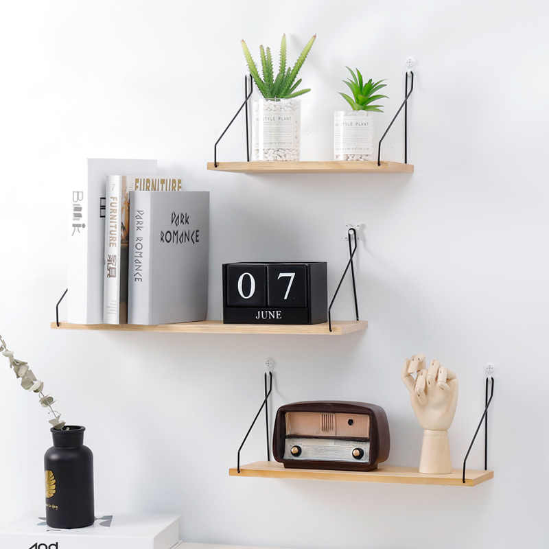 Simple Nordic Style Wooden Wall Racks Holders Solid Wood Storage Shelf For Wall Living Room Bedroom Storage Rack