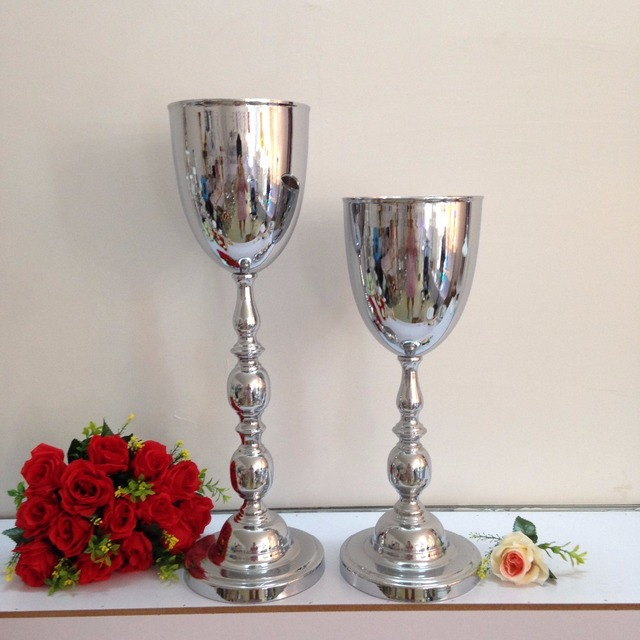 Height Of 53cm 208 Silver Wedding Flower Vases Bling Table