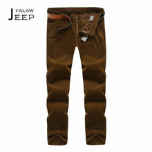 Falow AFS JEEP Autumn/Winter Man's Cotton Man's corduroy Full Length Trousers,Brown Mid Waist Loose Cargo Esportes solid Bottoms