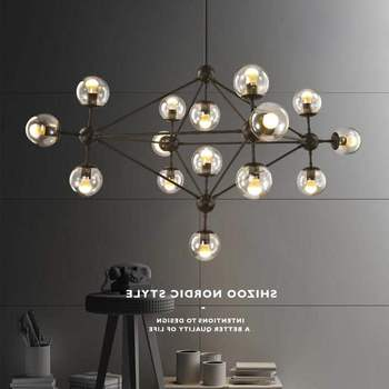 Modern LOFT industrial modo chandelier light lamp LED iron glass hanging lamp light for foyer dinning living room magic bean