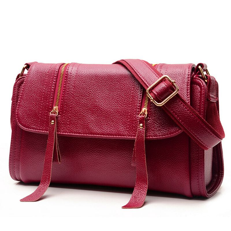 Fashion Genuine leather soft women messenger bag ladies Zipper tassel crossbody bags for woman shoulder bag lady handbag S17-08