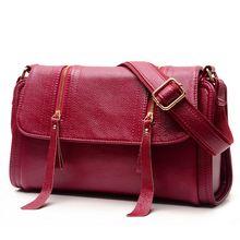Fashion Echtes leder weiche frauen umhängetasche damen Reißverschluss quaste crossbody taschen für frau umhängetasche dame handtasche S17-08