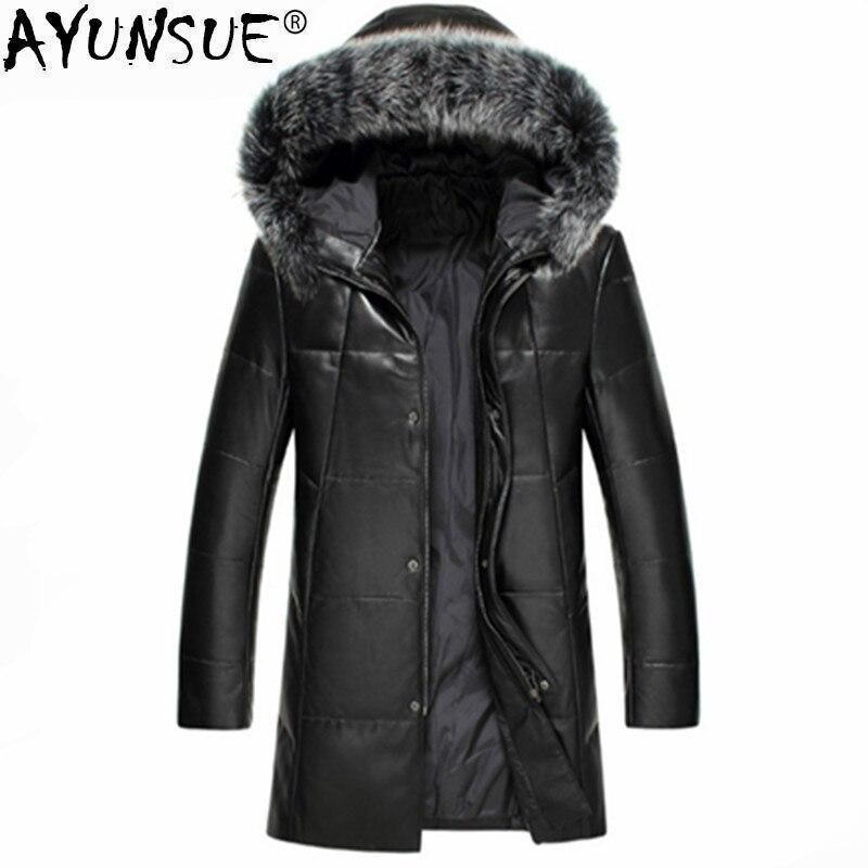 Ayunsue Натуральная кожаные пальто Для мужчин из натуральной овечьей кожи Зимняя Куртка утка вниз теплое пальто лиса меховой воротник верхняя ...