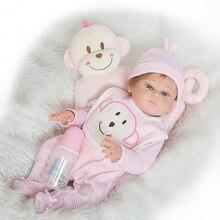 20 Cal Dziewczyna lalki reborn babies Full Body Handrooted Moherowe realistyczne Silikonowe Odrodził lalki bonecas bebe reborn