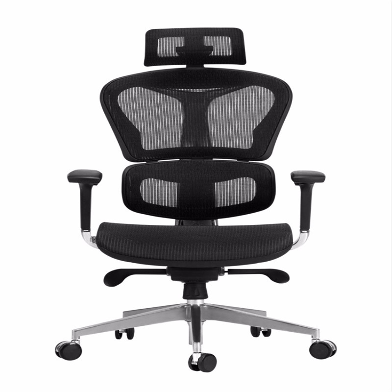 Ergonomic Computer Chair In Black And White Tone Household Comfortable High-end Office Seat Boss Chair Netcloth Swivel Seat