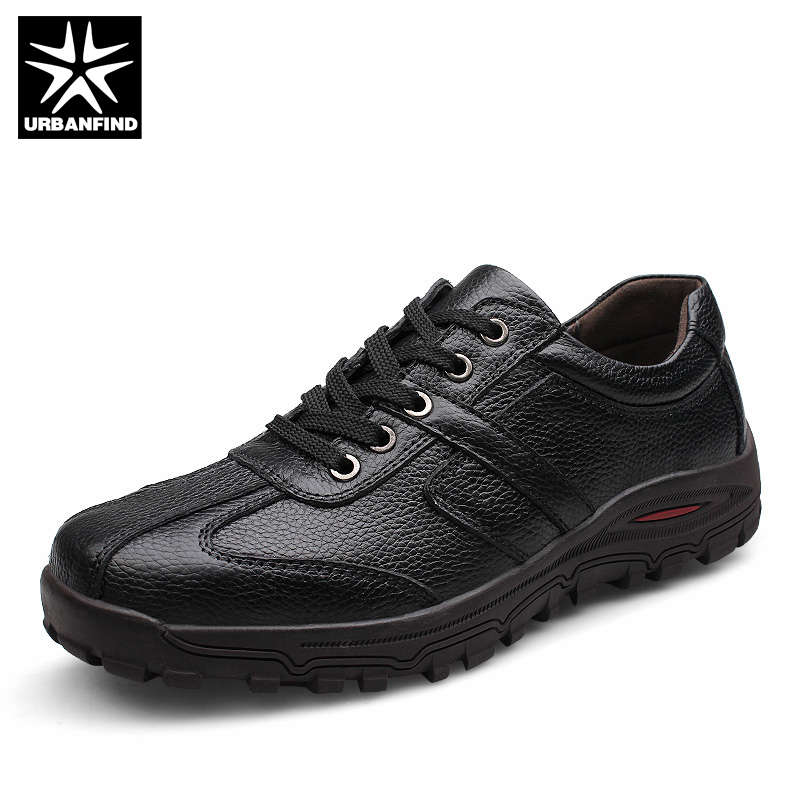 URBANFIND Big Size 38-48 Brand Fashion Men Genuine Leather Shoes Hot Sale Man Lace-up Casual Oxfords Black Brown Colors urbanfind genuine leather men shoes black white footwear plus size 39 47 high quality man lace up casual flats 45 46 47