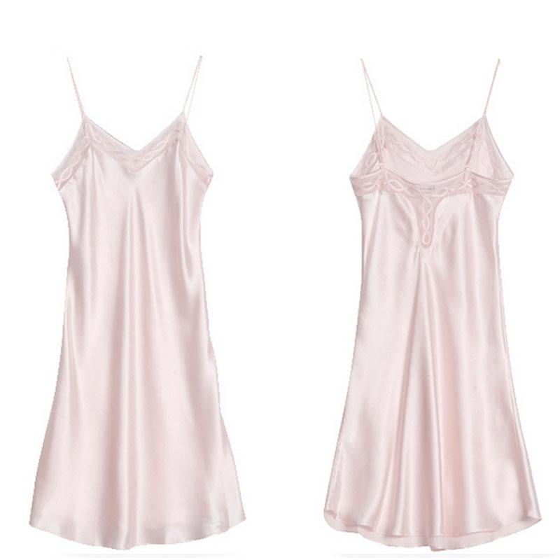 Zijde Satijn Nightgowns 100% Mullberry Zijden Vrouwen Zijden Nachtkleding Sexy Lingerie Jurk (Hand wassen alleen) - 6