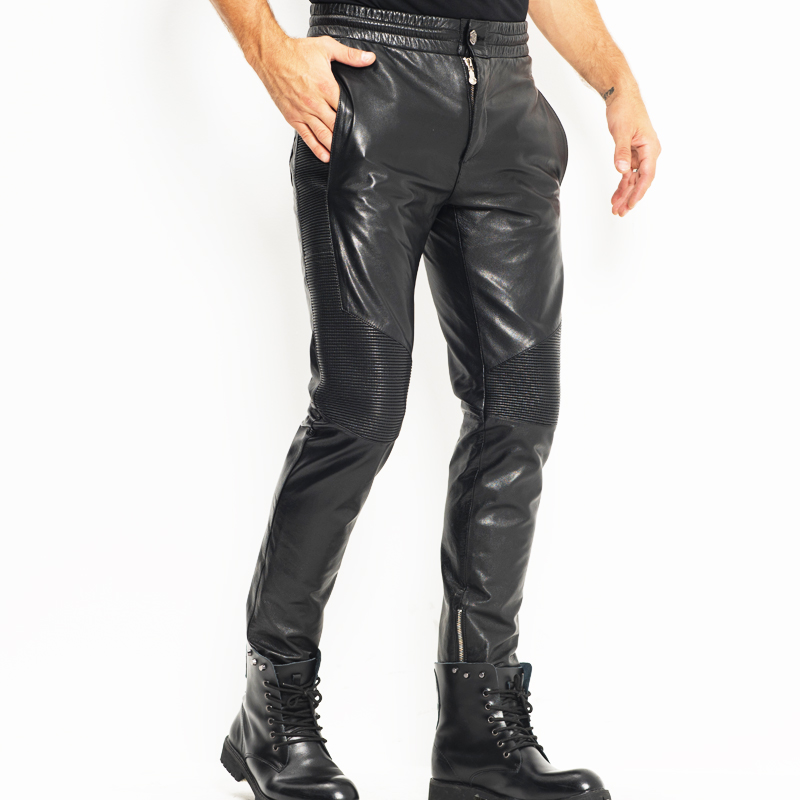 Men's Leather Pant Biker Pants Moto&Biker Punk Rock Pants Tight Gothic Leather Pants  Slick Smooth Shiny Trousers Sexy WZS003