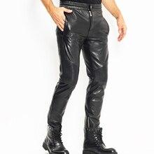 Men's Leather Pant Biker Pants Moto&Biker Punk Rock Pants Tight Gothic Leather Pants Slick Smooth Shiny Trousers Sexy WZS003