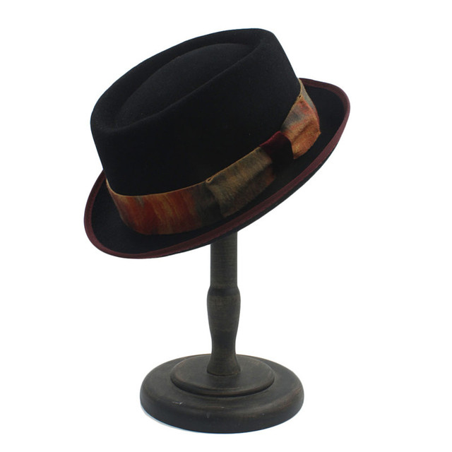 a44cfc5f4ea 100% Australia Wool Women Men Felt Fedora Pork Pie Hat Cashmere Flat  Homburg Godfather Top Caps With Fashion Bowknot