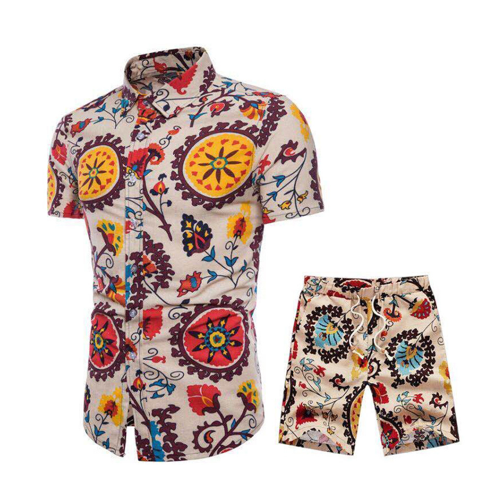 Casual Men's Set Summer Short Sleeve Shorts Set New Comfortable Print Suit Collar Set T603
