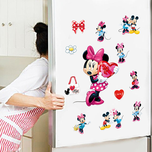 Most Popular Anime Image Mickey Minnie Mouse Wall Decals 3d Vinyl Xpress  Stickers For Kids Rooms Decoration Mural Free Shipping