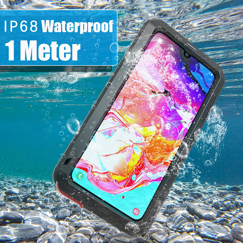 Image 4 - Waterproof 360 Full Body Protective Case For Samsung Galaxy A70 Case Shockproof Aluminum Metal Back Cover For Samsung A70 Cases-in Fitted Cases from Cellphones & Telecommunications