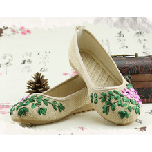 2016 Chinese style handmade linen embroidered shoes retro small fresh literary antiquity women shoes a132