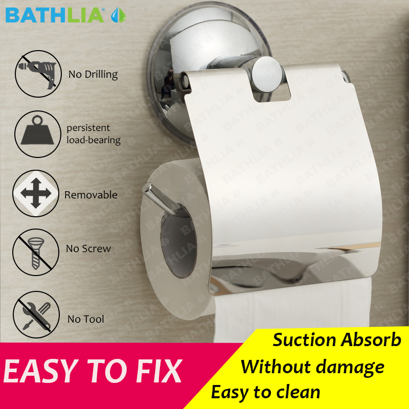 Stainless Steel Toilet paper Holder Heavy Duty Suction Wall Mount Toilet Tissue Paper Holder Bathroom Paper