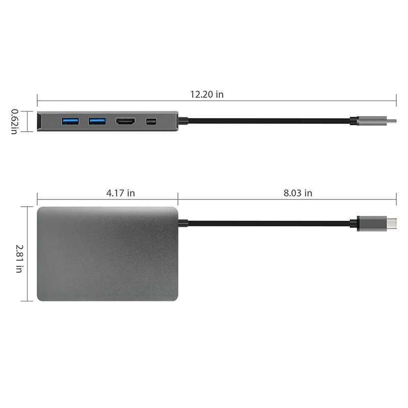 Amkle 9-in-1 USB Hub متعدد الوظائف USB-C محور مع نوع C 4K فيديو HDMI جيجابت إيثرنت محول USB 3.1 USB C نوع C3.1 Hub
