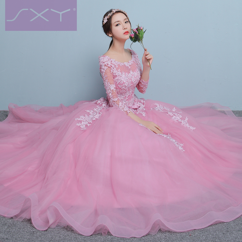 Robe de soiree 2017 pink boat neck ball gown lace thin Off Shoulder evening font b