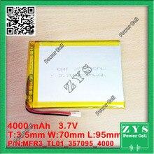 1 unids. batería de li-ion 3.7 v 4000 mAh batería recargable 3.7 v 4000 mah tamaño: 3.5x70x95mm