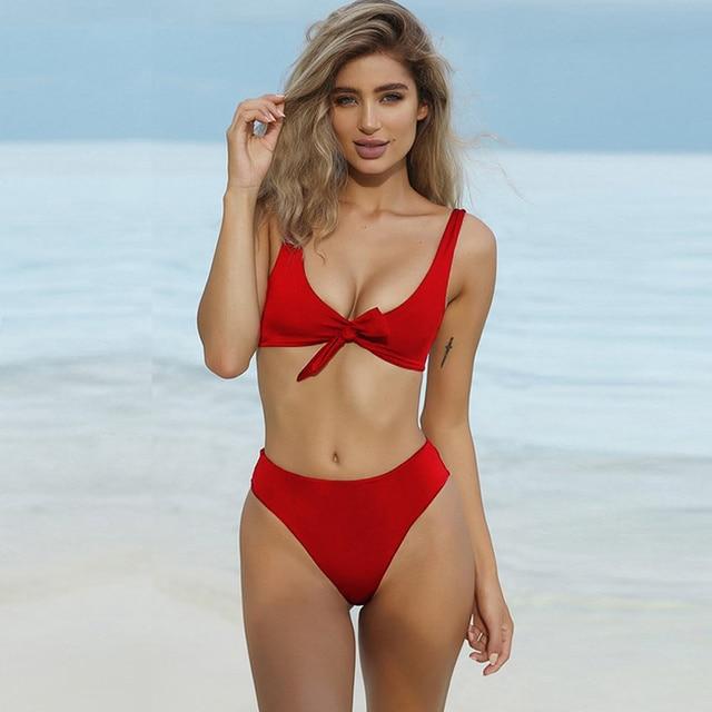 f04bab2509bc0 1Set Hot Sunmmer Sexy Women Bikini Set Beachwear Solid Bandage Skimpy Swimwear  Two-Piece Swimsuit Bathing Suit Blue Black Red
