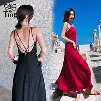 Tingfly Fashion Summer Women Maxi Dress Sexy Cross Backless Spaghetti Strap Long Sundress Boho Floral Print Holiday Beach Dress