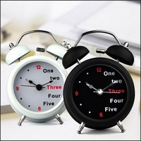 By DHL Or EMS 50 Pcs Classic Number English Retro Double Bell Desk Table Alarm Clock