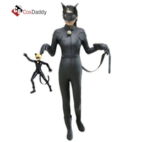 Miraculous Ladybug Cosplay Costume Cat Noir Cloths Adrien Black Leather Jumpsuit Halloween Christmas Party Club COSDADDY