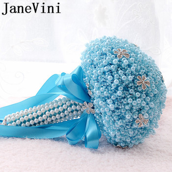 JaneVini Pearls Rhinestone Wedding Bouquet Blue Ribbon Satin Rose White Wedding Flowers Luxury Beaded Bridal Bouquet De Mariage luxury clear leaf design rhinestones beaded trim bridal wedding garter sets with white ribbon bow handmade