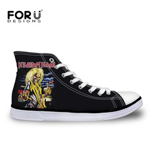 FORUDESIGNS 2017  Punk Heavy Metal Skull Men's High Top Canvas Shoes Male Casual 3D Iron Maiden Man Teenagers Vulcanize Shoes