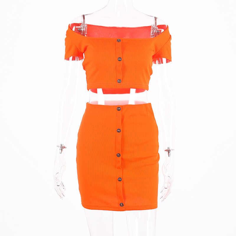 Неоновые комплекты из двух предметов Женская Летняя мода 2019, короткий рукав, пуговицы, укороченный топ, юбка комплект из 2 предметов, Женский клубный костюм