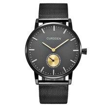 Модные дизайнерские брендовые CURDDEN мужские Для женщин пару часов Нержавеющаясталь Водонепроницаемый Повседневное кварцевые часы черный Montre Homme режим