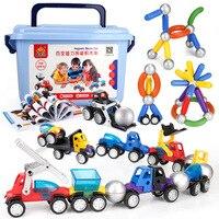 48pcs DIY 3D Magnetic Car Building Blocks Toy for Kids Creative Metal Puzzle Magnet Constructor Vehicles Model Building PGM165