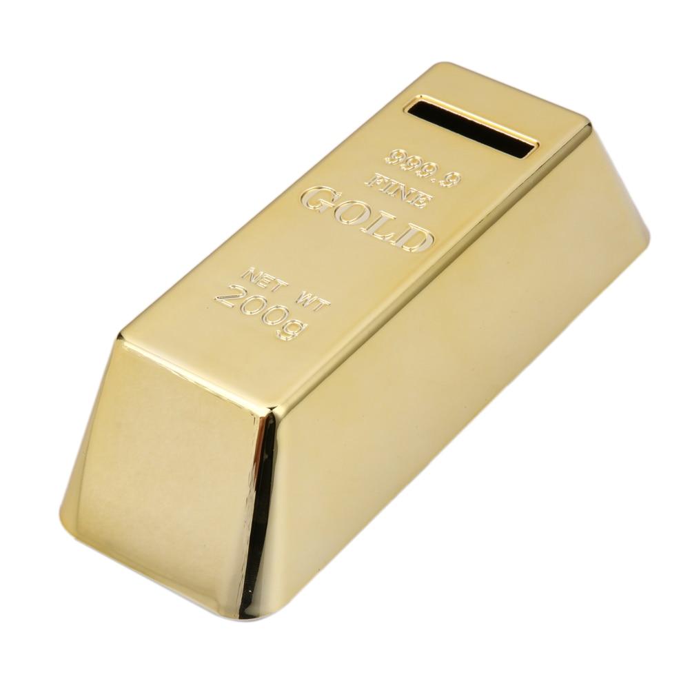 Gold Bullion Bar Piggy Bank Plastic Brick Coin Bank Saving Money Box Home Decor Kids New Year Birthday Gift