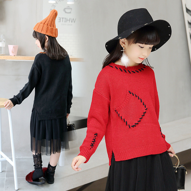 Kids Girls Sweater 2018 Christmas Sweater Korean Style Toddler Long Sleeve Sweater Knit Cotton Sweaters Pullover Cardigan 10 12 цена