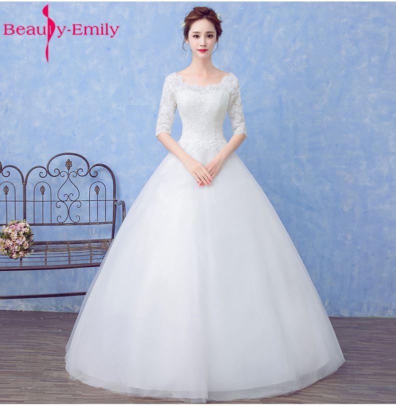 Beauty Emily Princess Bride Simple White Wedding Dresses