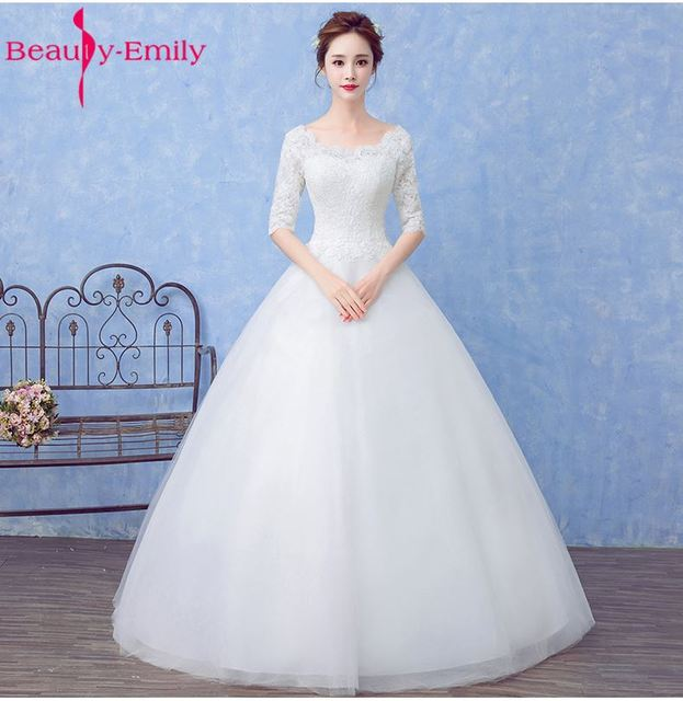 Beauty emily princess bride simple white wedding dresses scoop beauty emily princess bride simple white wedding dresses scoop short sleeve lace up lace bridal junglespirit Image collections