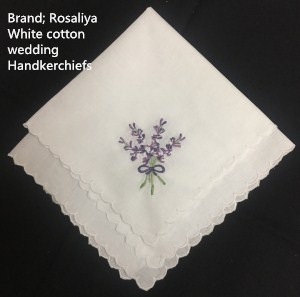 Set Of 12 Ladies Handkerchief 12-inch White Cotton Wedding Hankies Scallop Edged Color Embroidery Vintage Hanky For Ladies/Bride
