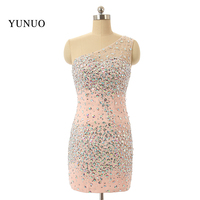 Actual Image Charming Rhinestone Beaded One Shoulder Sheath Mini Short Homecoming Dresses 2015 New Fast Shipping