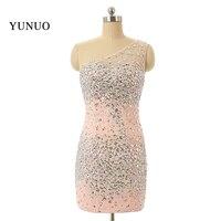 actual image Charming Rhinestone Beaded One Shoulder Sheath Mini Short Homecoming Dresses 2018 New Fast Shipping Custom Made