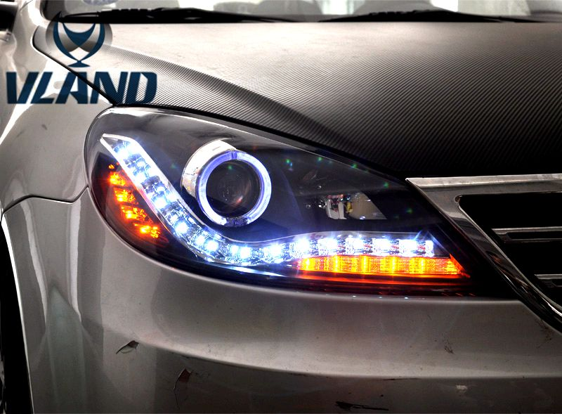Free shipping vland factory Lavida 2008 2011 headlight angel eyes and plug and play design
