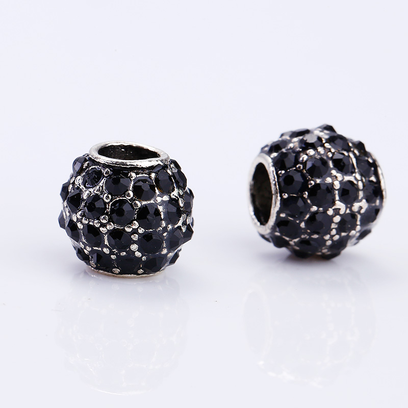 Kupla Vintage Silver Round Beads fit Pandora Charms Diy Fashion Color Rhinestone Metal Zinc Alloy Beads for Jewelry Making