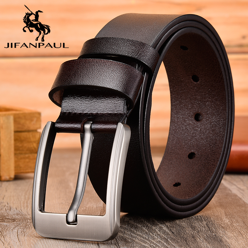JIFANPAUL authentic men's high quality   belt   classic designer advanced retro pin buckle men leather fashion business formal   belt
