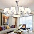 Современный  хромированный  металлический  светодиодные люстры  освещение  стеклянный оттенок  гостиная  Led  подвесные люстры  Светильники д...
